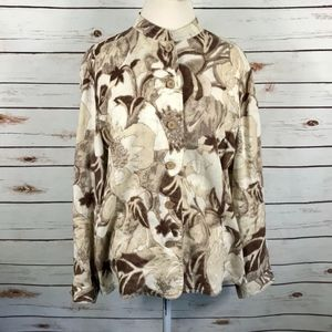 Chicos Additions Tan Floral Button Linen Shirt 3